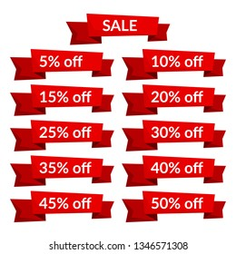 Set of red sale ribbons with different discount values. Sale label template