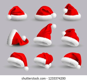 Set of Red Santa Claus Hats isolated on gray background.  Realistic Illustration.
