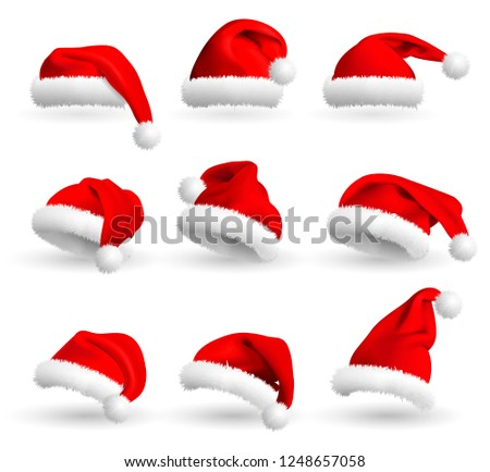46af05136e8 Royalty-free stock illustration ID  1248657058. Set of Red Santa Claus Hats  isolated on white background. Realistic Illustration. - Illustration