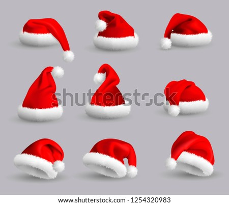 3d44cdfccaf Royalty-free stock illustration ID  1254320983. Set of Red Santa Claus Hats  isolated on gray background. Realistic Illustration. - Illustration