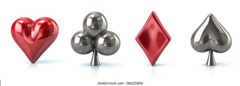Set of red and silver playing card symbols 3d illustration on white background
