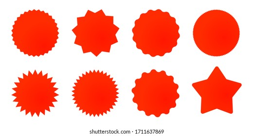 Set of red star or sun shaped sale stickers. Promotional sticky notes and labels