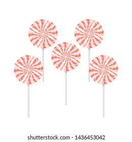 set of red and white lollipops isolated over a white background