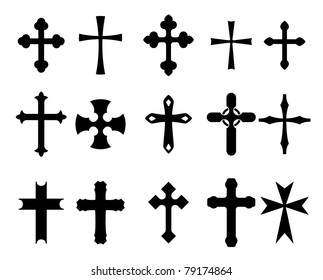 Set of religious cross symbols isolated on white, such logo, such a logo. Vector version also available in gallery