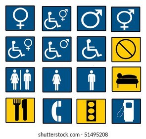 A set of restroom and road signs