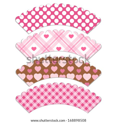 Set Of Retro Cupcake Wrapper Templates With Hearts For Valentines Day Isolated On White Background