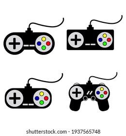 set of retro joysticks drawing on white background