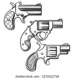 Set of retro pistols. Three pocket revolvers drawn in engraving style.  illustration.