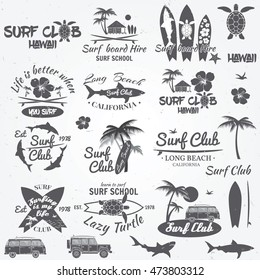 Set of retro vintage badges and labels. For web design, mobile and application interface, also useful for infographics. Surf club and surf school design.