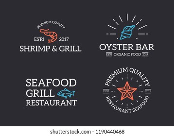 Set of retro vintage fish and seafood, shrimp, starfish, shell logo or insignia, emblems, labels and badges and other branding objects. line style