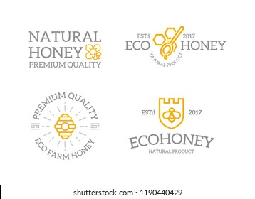 Set of retro vintage honey and shield with a bee, honeycomb, hive logo or insignia, emblems, labels and badges and other branding objects. line style
