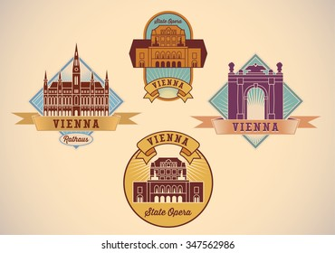 Set of retro-styled Vienna city tour labels. Raster image.