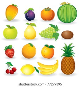 Set of ripe fruit illustrations isolated on white background - eps vector version at my gallery
