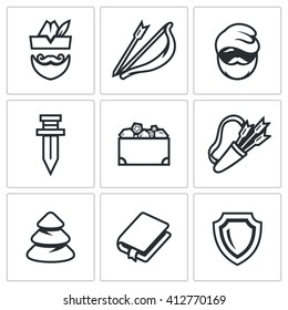 Set of Robin Hood Icons. Archer, Bow and Arrow, Poor Man, Sword, Treasure, Quiver, Forest, Book, Shield. The characters of the story of the noble forest robber