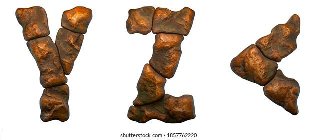 Satz von Felsbuchstaben A, B und Symbol linke Winkelhalterung. Schriftart aus Stein auf weißem Hintergrund. 3D-Rendering