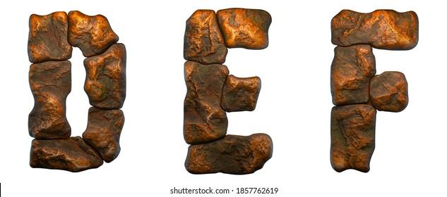 Reihe von Felsbriefen D, E, F. Schriftart aus Stein auf weißem Hintergrund. 3D-Rendering