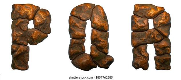 Reihe von Felsbriefen P, Q, R. Schriftart aus Stein auf weißem Hintergrund. 3D-Rendering