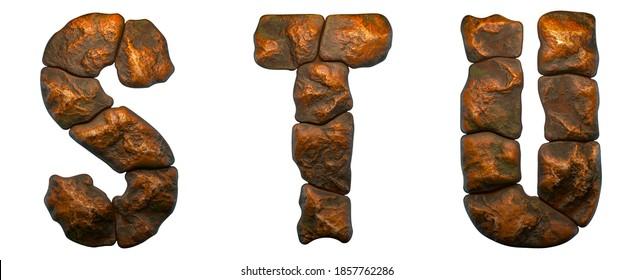 Satz von Felsbriefen S, T, U. Schriftart aus Stein auf weißem Hintergrund. 3D-Rendering