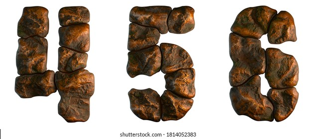 Set of rocky numbers 4, ,5, 6. Font of stone on white background. 3d rendering