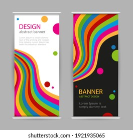 Set roll up with bright rainbow line on black and white background. Abstract  vertical banners. Universal template with empty place for text.