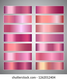 Set of rose gold or shiny pink gradient banners templates or website headers. Design for your banners, headers, footers, flyers, cards etc.