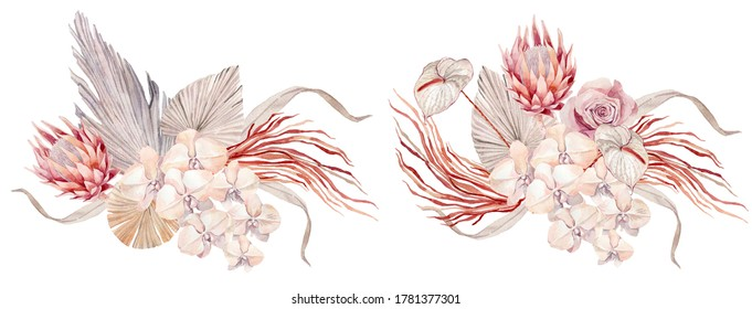 Set of rose-gold bouquets. Botanical watercolor illustrations, floral elements, roses, protea, orchid and calla lilies