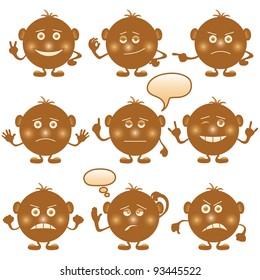 Set of round brown smilies symbolising various human emotions