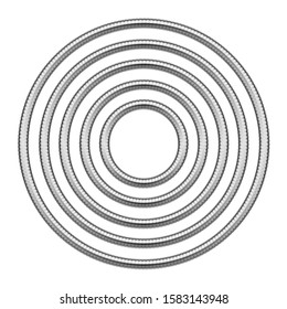 Set of round frames made of shower hoses. 3d template illustration for banners, flyers, invitations or greeting cards isolated on white background.