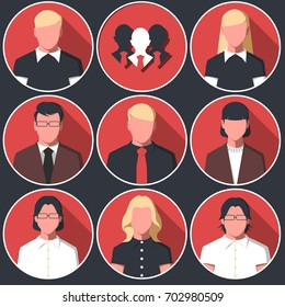 Set of round icons with  man and woman. Avatars with male and female silhouettes of white collar workers. Business people in flat style. Raster illustration.