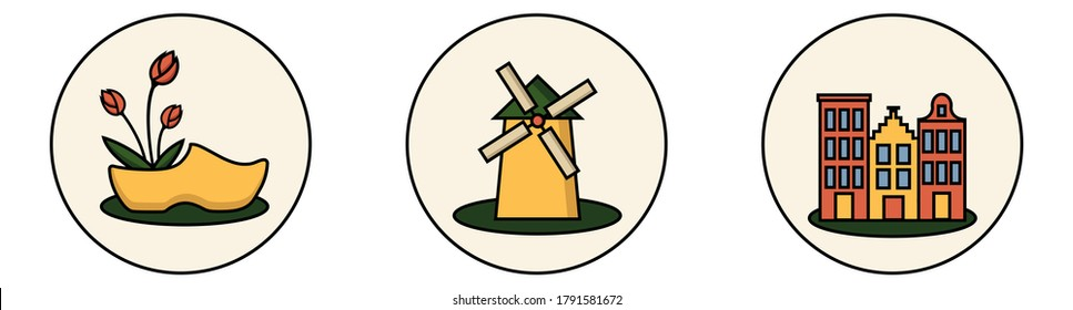Set of round isolated sticker icons with symbols of Amsterdam, Holland. Windmill, typical dutch architecture, clog with tulips. Cartoon style.