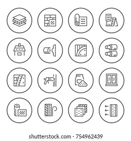 Set round line icons of insulation isolated on white