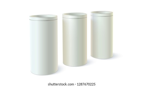 Set of round tins of packaging for bulk products. Containers of cylindrical shaped. Template of blank round tin cans. 3D illustration isolated on white background.
