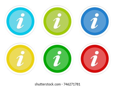 Set of rounded colorful buttons with information symbol in blue, green, yellow and red colors