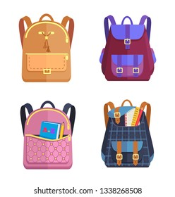 Set of rucksacks for girls and boys of different colors with zippers and fasteners, fashionable models with handles and pockets, raster illustrations