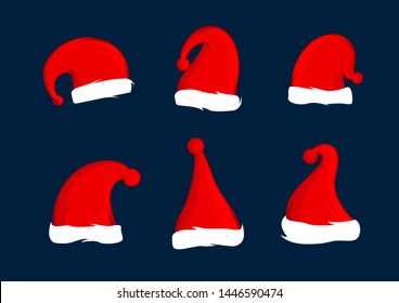 Set of Santa Claus red hats. Christmas hat decoration. Illustration design.