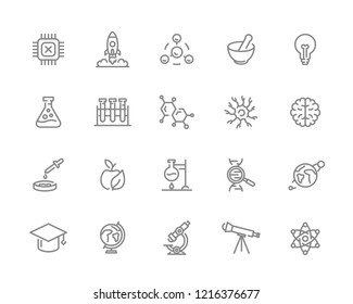 Set of science and research line icons. Chip, rocket, atom, ion, lamp, tube, bulb, neuron, brain, dna, molecule, lab, space, microscope, telescope and more.