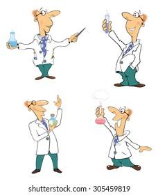 Set of scientists Clip-Art. Cartoon