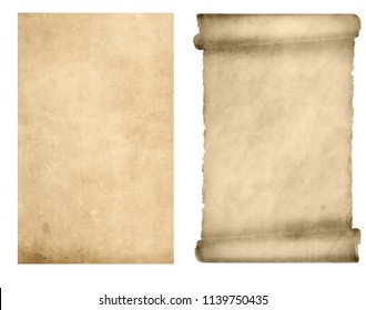 set of scrolls isolated on white background