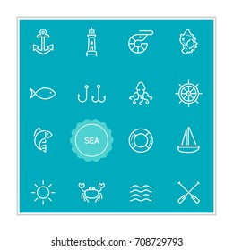 Set of Sea Food Raster Illustration Elements can be used as Logo or Icon in premium quality