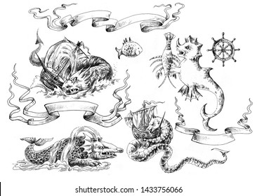 Set of sea monsters in vintage style. Element design of marine and pirate maps. Freehand drawing.