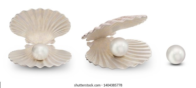 Set of sea shells with pearl inside. Collection gems, women's jewelry, nacre beads. For your banner, poster, logo. Set sea shells, shiny sea pearl isolated on white background, 3d illustration