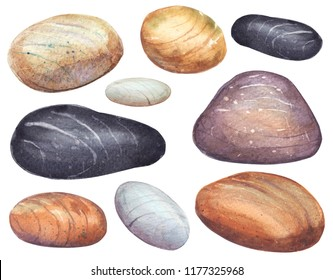 Set of sea stones. Hand drawn watercolor painting on white background.High resolution.Clipping path included.