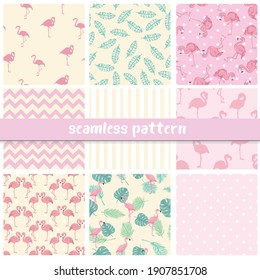Set seamless backgrounds with pink flamingos