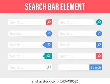 Set Search bar element design, set of search boxes ui template isolated on blue background. stock illustration.