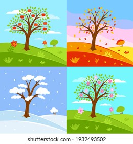 Set of seasons illustrations. Summer, autumn, winter, spring - landscapes in a flat style.