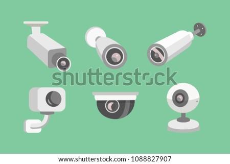 Royalty Free Stock Illustration Of Set Security Camera Cctv Cartoon