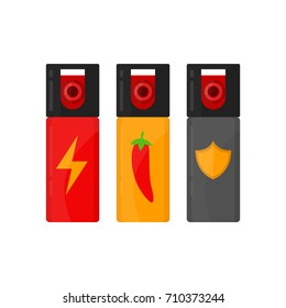 Set of self defense spray bottles. modern style cartoon illustration icon design.  Pepper-spray, tear gas isolated on white background. concept of human attack technology, safety equipment