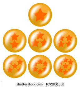 a set of seven glossy balls with stars from one to five stars