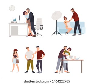 Set of sexual harassment, assault and abuse incidents. Male boss groping female office worker in workplace, film director harassing actress, men whistling and staring at woman. illustration.