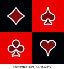 Set shape diamonds, clovers, hearts and spades Four Playing card suits icons template black and red color. High quality outline Playing card suit symbol shape pictogram for web design or mobile app